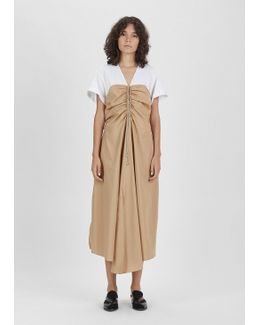 Cap Sleeve Gathered Front Dress