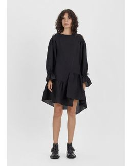 Asymmetric Crinkle Silk Gauze Ruffle Dress