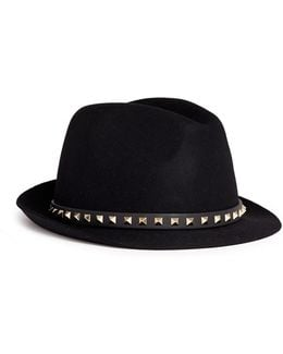 'rockstud' Band Rabbit Furfelt Fedora Hat