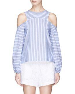 'astrid' Stripe Cotton Cold Shoulder Top
