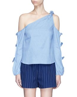 Knotted Sleeve Chambray One-shoulder Top