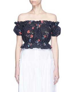 'primrose May' Broderie Anglaise Cropped Off-shoulder Top