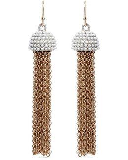 'ursula' Faux Pearl Chain Tassel Earrings
