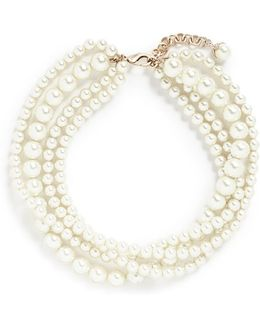 'lustre' Tiered Glass Pearl Necklace