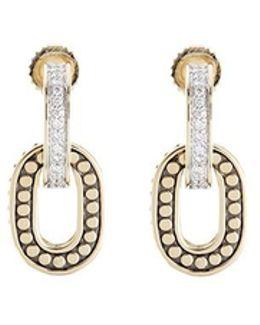 Diamond 18k Yellow Gold Dotted Hoop Drop Earrings