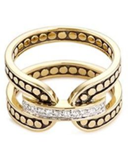 Diamond 18k Yellow Gold Dotted Ring