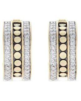 Diamond 18k Yellow Gold Dotted Hoop Earrings