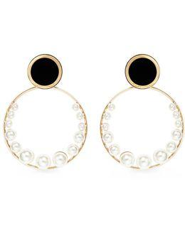 Swarovski Pearl Detachable Hoop Disc Earrings