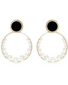 Faux Pearl Detachable Hoop Disc Earrings