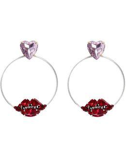 Crystal Heart And Lips Detachable Hoop Earrings