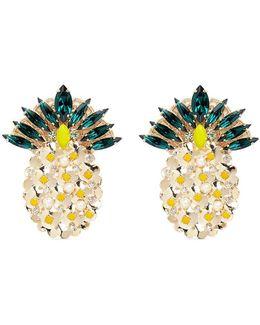 'ananas' Swarovski Crystal And Pearl Pineapple Earrings