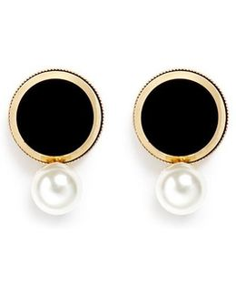 Faux Pearl Disc Earrings