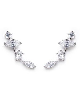 Cubic Zirconia Link Climber Earrings