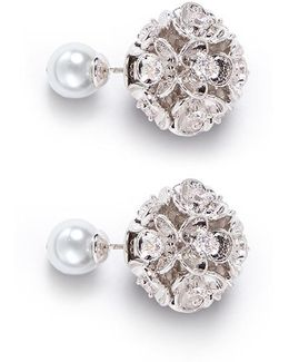 Cubic Zirconia Glass Pearl Floral Earrings