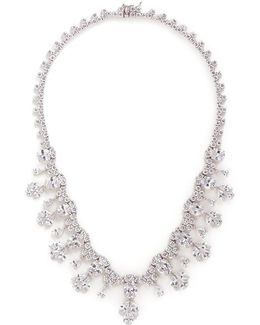 Cubic Zirconia Floral Fringe Necklace