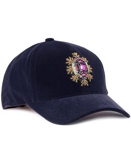 Jewelled Appliqué Velvet Baseball Cap