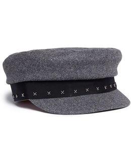 'stewart' Beaded Cross Wool Boyish Cap