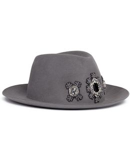 'tribecca' Jewelled Appliqué Rabbit Furfelt Fedora Hat