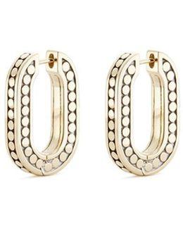 18k Yellow Gold Dotted Hoop Earrings