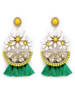 'lemondrops' Swarovski Crystal Tassel Earrings
