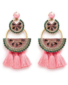 'watermelon Chandeliers' Swarovski Crystal Tassel Drop Earrings