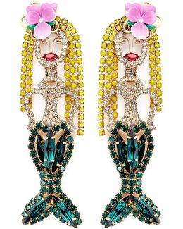 'mermaid' Swarovski Crystal Drop Earrings