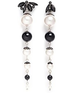 'monochrome Chic' Swarovski Crystal And Pearl Drop Earrings