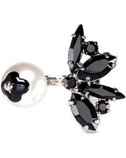 'monochrome Chic' Swarovski Crystal And Pearl Open Ring