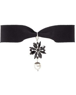 'monochrome Chic' Swarovski Crystal And Pearl Ribbon Choker