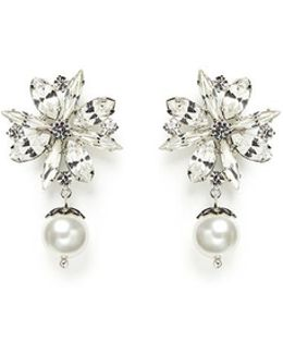 'monochrome Chic' Floral Swarovski Crystal And Pearl Earrings