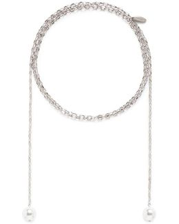 Swarovski Pearl Chain Lariat Necklace