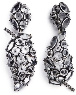 'diamanda' Glass Crystal Cluster Leaf Drop Earrings