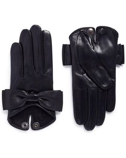 'audrey' Bow Lambskin Leather Short Gloves