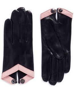'cube' Contrast Trim Lambskin Leather Short Gloves