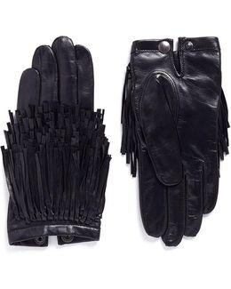 'deeva' Fringe Lambskin Leather Gloves