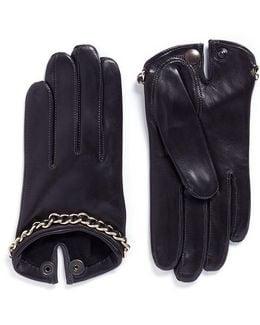 'sasha Chaine' Chain Lambskin Leather Short Gloves