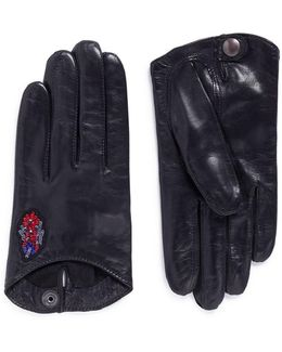 'douchka' Sequin Floral Lambskin Leather Short Gloves
