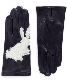 'douglas' Shearling Rabbit Patch Leather Gloves