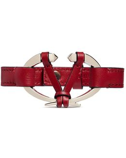 Logo Plate Leather Bracelet
