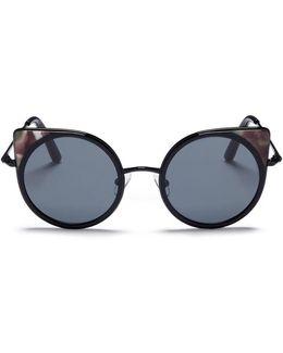 Colourblock Tortoiseshell Acetate Rims Metal Cat Eye Sunglasses