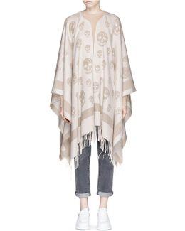 Skull Jacquard Wool-cashmere Knit Cape