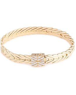 Diamond 18k Yellow Gold Weave Effect Link Chain Bracelet
