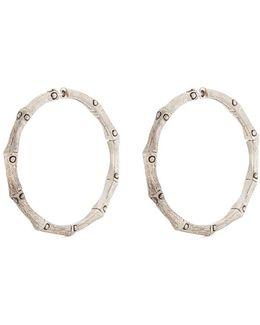 Brushed Silver Medium Bamboo Hoop Earrings