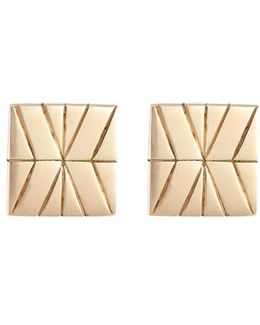 18k Yellow Gold Silver Square Stud Earrings