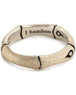 Brushed Silver Bamboo Ring