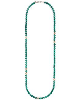 Malachite 18k Yellow Gold Silver Bead Necklace