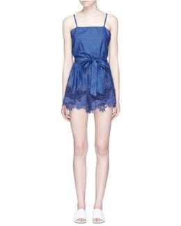 'rosetta' Belted Chambray Rompers