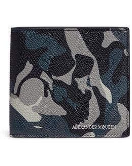 Camouflage Skull Print Leather Bifold Wallet