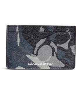 Camouflage And Skull Print Leather Card Holder
