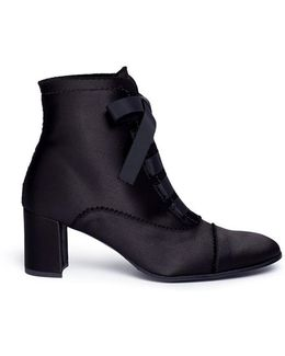 'xeni' Ribbon Lace-up Satin Ankle Boots
